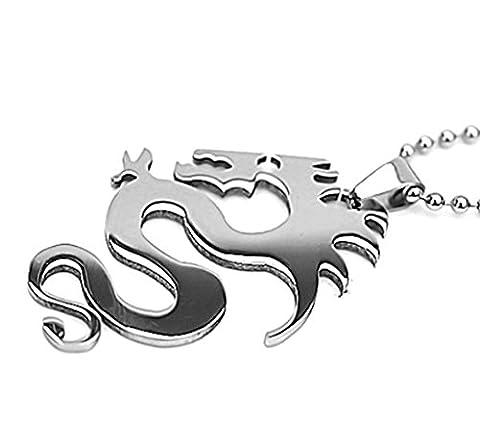Hommes En Acier inoxydable Collier avec pendentif Dragon Silver 4.4*3cm