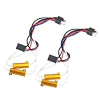 Rupse 50W 6Ohm H4 Error Free LED Lights Load Resistor Adapter Fix Flashing Blinking Canbus Bypass Wiring Harness Decoder for Fog Lights Daytime Running(Pack of 2)