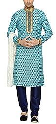 Indian Poshakh Mens Silk Sherwani (1227_38, 38, Blue)
