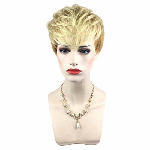 COSPLAZA Pixie Cut kurze Lt Blonde Lady Sommer Ball Party jeden Tag tragen Perücke (Halloween Lady Vamp)