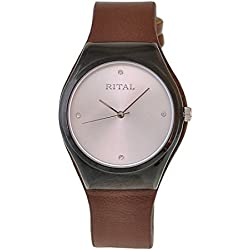 Women's Watch Rital Black Metal Case Pearl Color Dial with Crystals Brown Band / Simple Clean Design