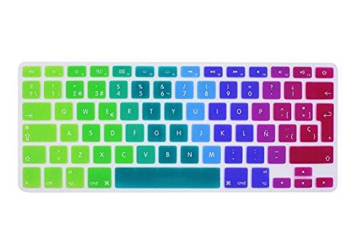 """Wayes - española Cubierta del teclado / Keyboard Cover para MacBook Pro 13"""" 15"""" 17"""" & Air 13"""" EU/ISO Disposición Silicone / Silicona Skin (Distribución del teclado de la UE / ISO) - arco iris"""