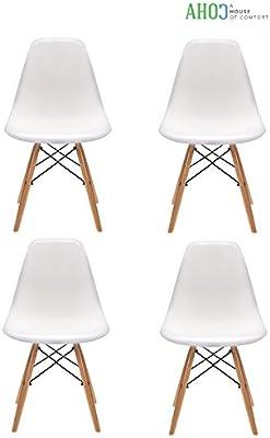 Pack de 4 sillas moderno Eiffel Tower blanca, silla réplica eames blanco y madera de haya (Negra)