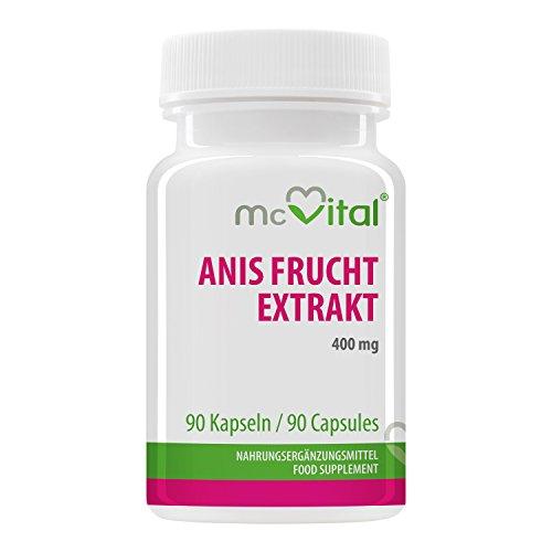 Anis Frucht Extrakt - 400 mg - Gegen Blähungen - Bei Hustenreiz - Starke Verdauung - 90 Kapseln