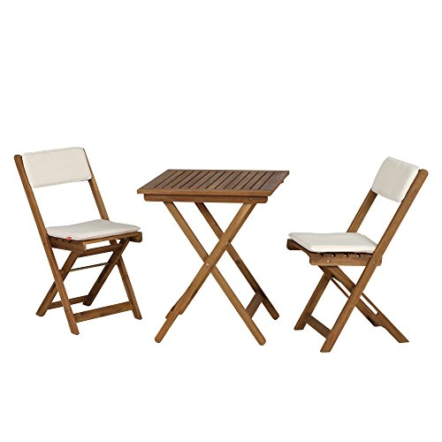 Siena Garden 673122 Almeria Set de Balcon 2 Chaises Pliantes + 1 Table avec Coussin Écru Acacia 60 x 60 cm