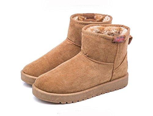 KUKI Scarpe da donna, stivali da donna, stivali da neve, più cashmere, scarpe di cotone, antiscivolo, tubo corto, stivaletti corti, versione coreana, piatti, caldi 4