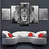 zxfcczxf Noir et Blanc Animaux Modulaire Toile Photos Art 5 Pièces Lion Affiche Décor Salon Salon Mur HD Impression Peintures Cadre-40x60cm*2/40x80cm*2/40x100cm*1