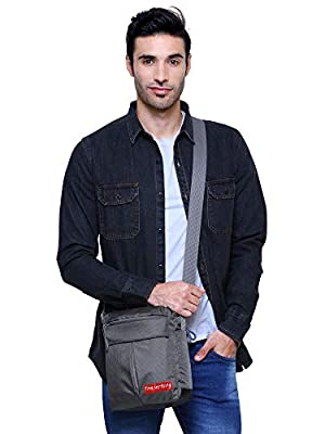 Trajectory Polyester and Fabric Urban Grey Unisex Sling Bag with Earphone Case