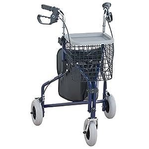 NRS Healthcare M85577 faltbarer Rollator mit drei Rollen, inklusive Tasche und Korb mit abnehmbarem Tablett