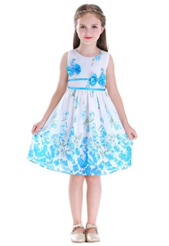 Bow Dream Party Rose Flower Girls Dress Double Bow Tie Sundress