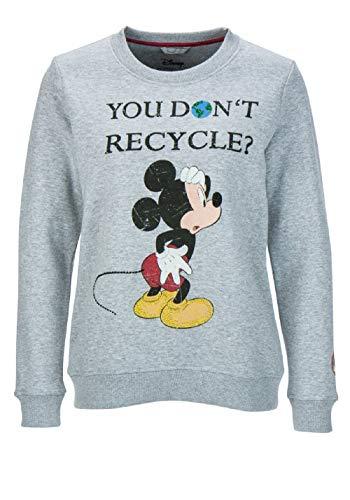 FROGBOX Damen Sweatshirt Mickey You Don't Recycle Stickerei hellgrau M Disney Mix Stick