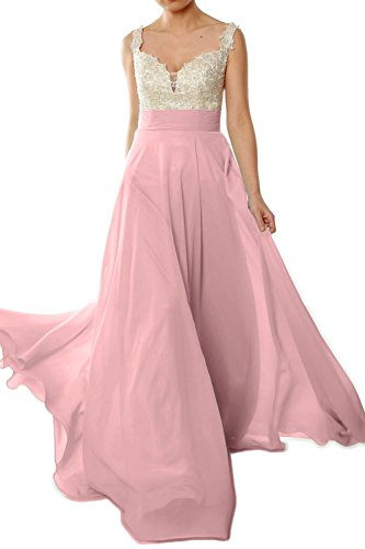 MACloth Gorgeous Long Prom Dress 2018 Straps Lace Chiffon Formal Evening Gown Blush Pink