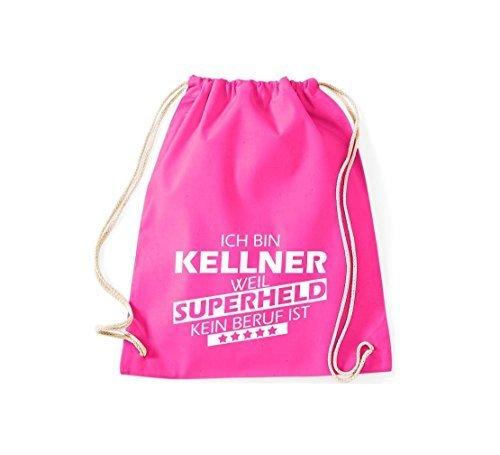 shirtstown BORSA PALESTRA Ich bin Kellner, WEIL supereroe NESSUN occupazione è - grigio, 37 cm x 46 cm rosa