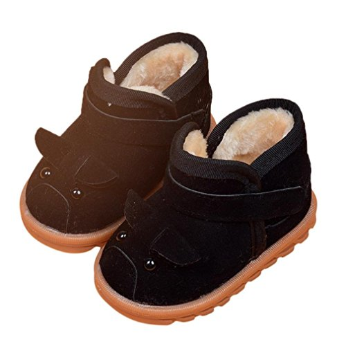 24 , Black : Sunfei Infant Toddler Baby Girls Boots Boys Kid Winter Thick Snow Boots Fur Shoes (24, Black)