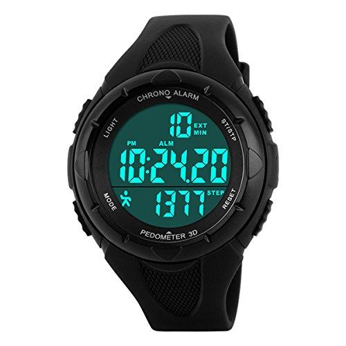 BesWLZ Herren Uhren Unisex Wasserdichte Sportuhr Schrittzähler Elektronische Digital Alarm Stoppuhr Armbanduhr Für Jungen Mädchen