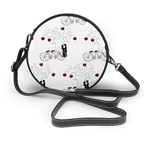 Handbags For Women,Apple Of My Eye Bicycle Print PU Leather Shoulder Bags,Tote Satchel Messenger Bags -