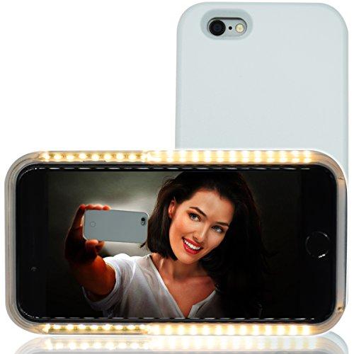 Selfie Licht Hülle, RIOGOO Telefon Selfie Hülle mit Facetime - Led Dimmbare Beleuchtet Handyhülle Selfie für iPhone 6/6S (Weiß)