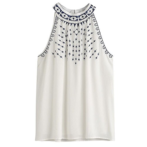 Vovotrade  Heiße bequeme Frauen Sommer gestickte Sleeveless beiläufige Blusen T-Shirt Trägershirts (Size:34(S), Weiß)