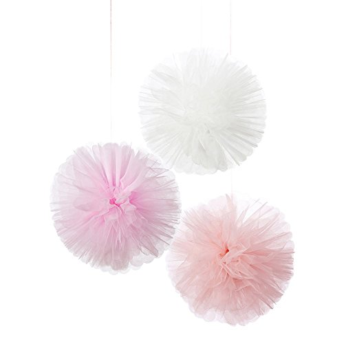 talking-tables-we-heart-pink-tulle-hanging-pom-decorations-multi-colour-25x25x25-cm-pack-of-3