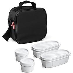 TATAY 1167500 - Urban Food Casual Negro - Bolsa térmica Porta Alimentos con 4 tapers herméticos incluidos, 3 litros de capacidad, Color Negro, 22.5 x 10 x 22 cm