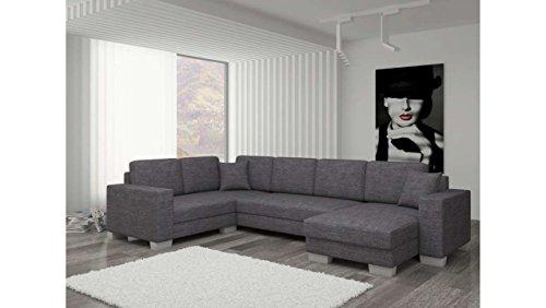 Justhome marco divano a u divano imbottito divano angolare tessuto a strutturale (lxlxa): 145-206x303x86 cm grigio penisola a destra