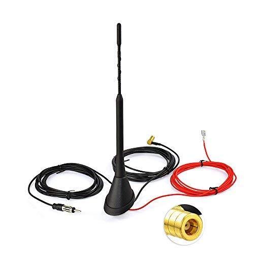 Toiot DAB/DAB+ - Antena de radio de coche para montaje en techo SMB a DIN adaptador FM/AM Setero señal amplificador mástil para Blaupunkt TechniSat Pioneer Kenwood Sony HifiTuner