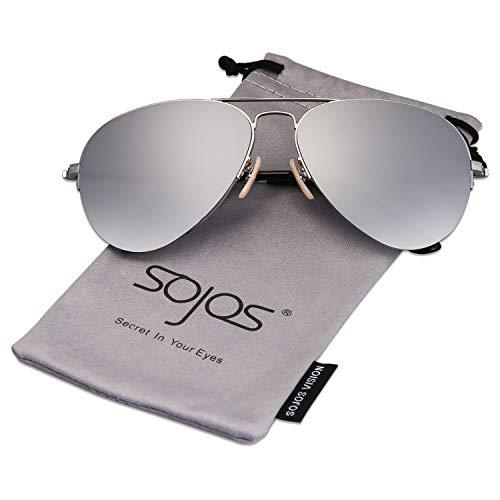 SOJOS Herren Damen Sonnenbrille Zwei Brücken Klassisch SJ1106 mit Silber Rahmen/Silber verspiegelte Linse