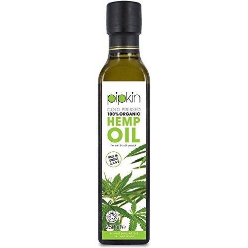 Pipkin Aceite de Cáñamo 100% Orgánico 250ml, Crudo, Prensado en Frío, Sin Refinar, Color Verde Oscuro Virgen Extra, Rico en Omega 3 6 9, Apto para Vegetarianos y Veganos, Ideal como Aderezos y Cuidado Personal, No-GMO