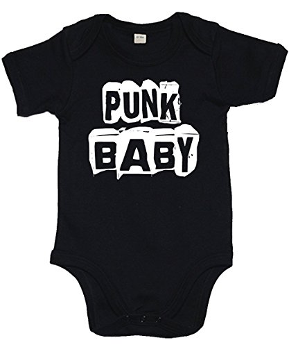 clothinx - Punk Baby - Babybody Schwarz, Größe 3/6 Monate