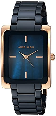 Anne Klein Women's Quartz Metal and Ceramic Dress Watch, Color:Blue (Model: AK/2952NVRG)