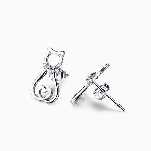 YAFEINI 925 Sterling Silber Zirkonia Katze Ohrstecker Ohrringe MEHRWEG (Katzen Ohrringe A)