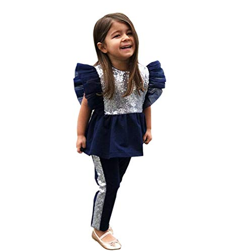 SCEMARK Mädchen Outfits Neugeborenes Baby Kind Paillette Fliegenhülle Tee Oberteile + Hosen Outfits Set -