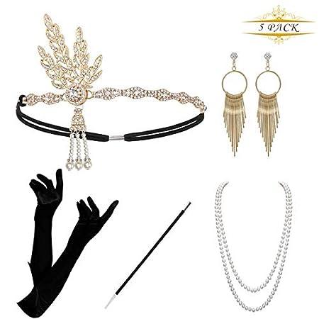 KQueenStar 1920s Damen Gatsby Kostüm Accessoires Set Halskette Handschuhe Zigarettenhalter 20er Jahre Stirnband…