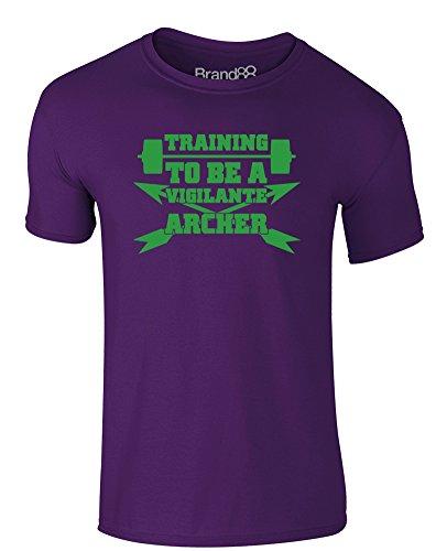 Brand88 - Training to be a Vigilante Archer, Erwachsene Gedrucktes T-Shirt Lila/Grün