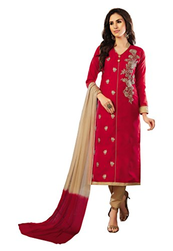 Oomph! Synthetic Dress Material (dm_Crimson Red_Free Size)