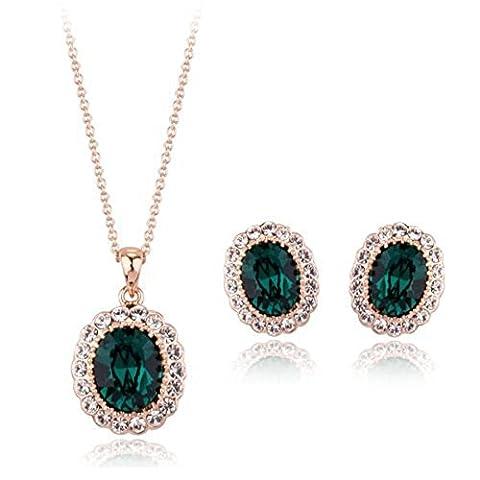 18ct Gold Finish Jewellery Set with Swarovski Emerald Crystals