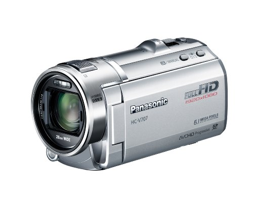 Panasonic HC-V707EG-S Full-HD-Camcorder (7,6 cm (3 Zoll) LCD-Display, 6.1 Megapixel, 21-fach opt. Zoom, 28mm Weitwinkel, 3D-kompatibel) silber