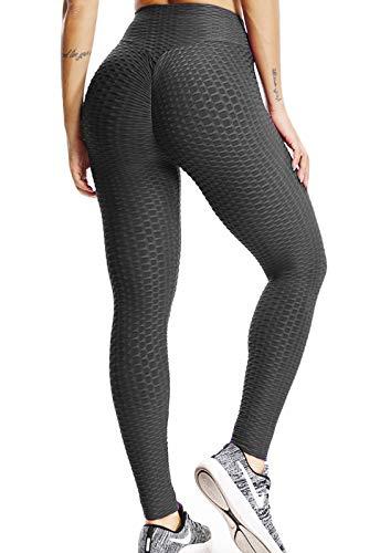 FITTOO Mallas Pantalones Deportivos Leggings Mujer Yoga de Alta Cintura Elásticos y Transpirables para Yoga Running Fitness con Gran Elásticos1090 Negro L