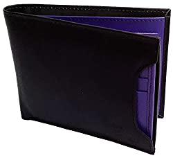 NUKAICHAU Black Blue Single Fold Mens Leather Wallet