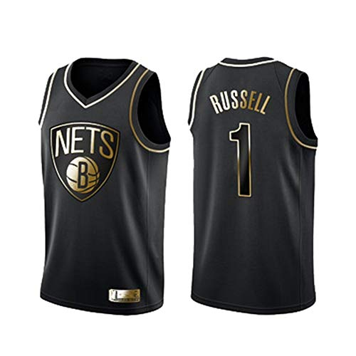 NBA Jersey Netze # 1 De Angelo Russell Bestickte Basketball Jersey Weste Sport Trainingskleidung Schnell Trocknend Kleidung S ~ XXL,M175~180CM/70~80kg (70 Und 80 Kleidung)