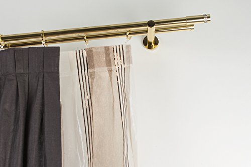Incasa bastone doppio per tende Ø 20 mm, l. 180 cm. in ottone lucido – completo