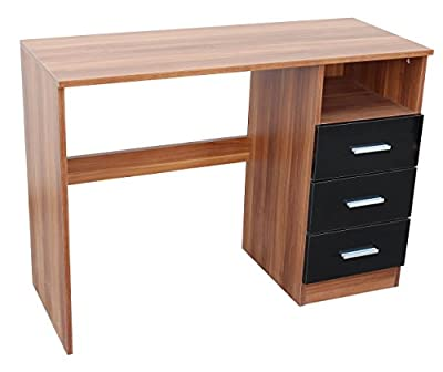 Modern Study Desk/Workstation | Premium Quality Home/Office Wood Desk W/ 3 Black Gloss Storage Drawers & Spacious Cabinet| Dressing Table| Perfect For Kids, Students & Adults| Premium Furniture By MMT - cheap UK light shop.