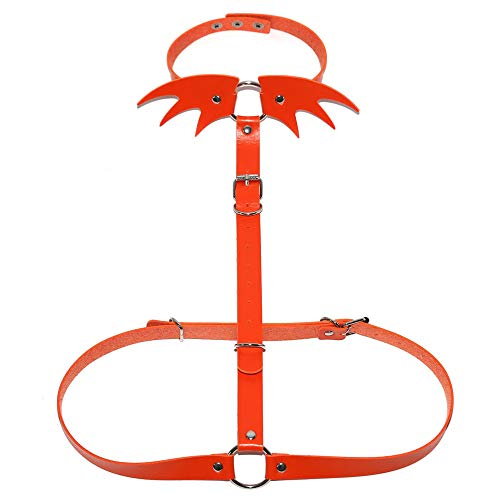 ALECHAIN Punk Little Devil Love Clavicle Wings Halsband Nightclub Street Shooting EIN Bindegürtel Brillenband Lanyard Geschenk-Verpackung Orange