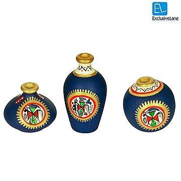 ExclusiveLane Terracotta Warli Handpainted Pots Blue Set Of 3