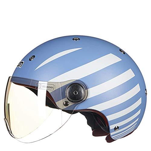 JiaoLiao Motorradhelm Männer Und Frauen Vier Jahreszeiten Halbe Helm Covered Motor Auto Helm Nettes Licht (Farbe : Light Blue and White Stripes, größe : XL)