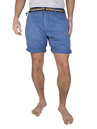 Scotch & Soda - Bleu Twill Chino With Belt Shorts - Homme - Taille: W32