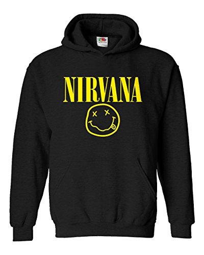 "Felpa Unisex ""Nirvana"" - Felpa con cappuccio rock band LaMAGLIERIA, M, Nero"