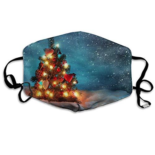 Monicago Einzigartige Unisex-Mundmaske, Gesichtsmaske, Christmas Tree Night Light Funny Pattern Polyester Anti-dust Masks - Fashion Washed Reusable Face Mask for Outdoor Cycling