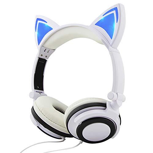 FIRSTEMORY Faltbare Kopfhörer mit kabelgebundenem Over-Ear-Kopfhörer mit leuchtendem Licht, Katzen-Kinder Headset für Kinder, Mädchen Geschenk weiß/blau