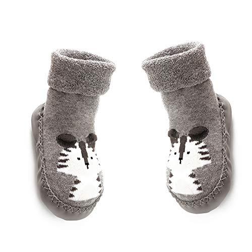 Baby-Anti-Rutsch-Socken atmungsaktive Baumwolle Socken Cartoon Stiefel für Kid-Grau 14cm